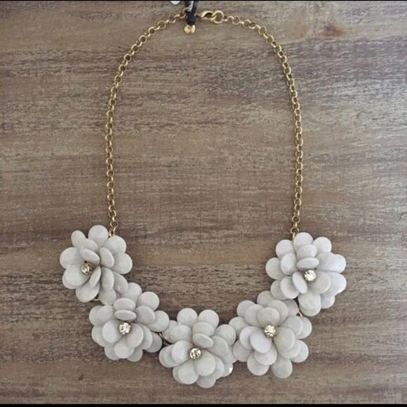 591692c89be9c6 J. Crew Factory Jewelry | J Crew Whitecrystal Flower Burst Necklace ...